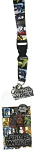 Star Wars Multi-Character Double Sided Lanyard Keychain ID Holder with Charm and Collectible Sticker