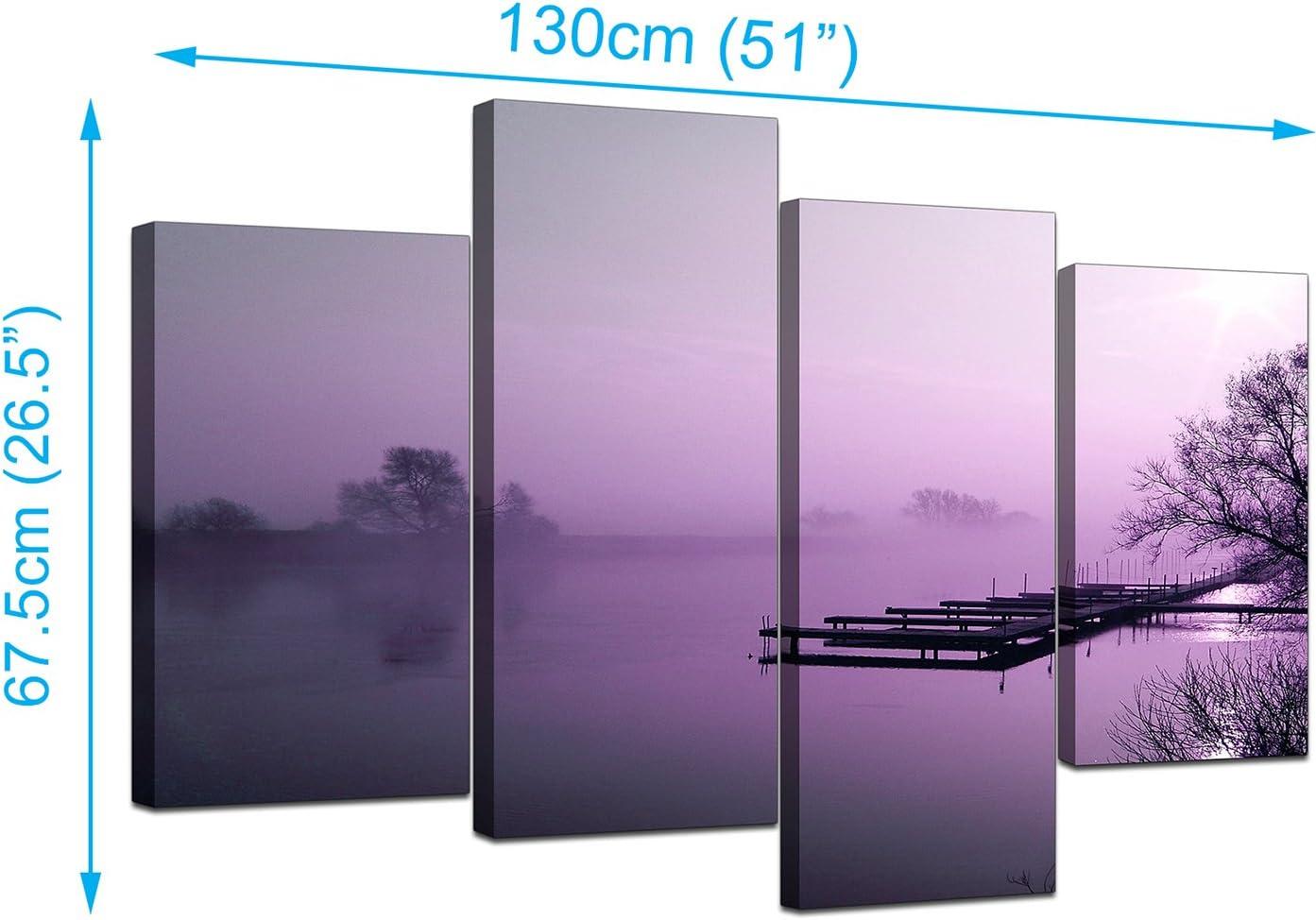LARGE PURPLE TONE LAKE SPLIT CANVAS PICTURE WALL ART MULTI  4 PANEL 100 cm wide