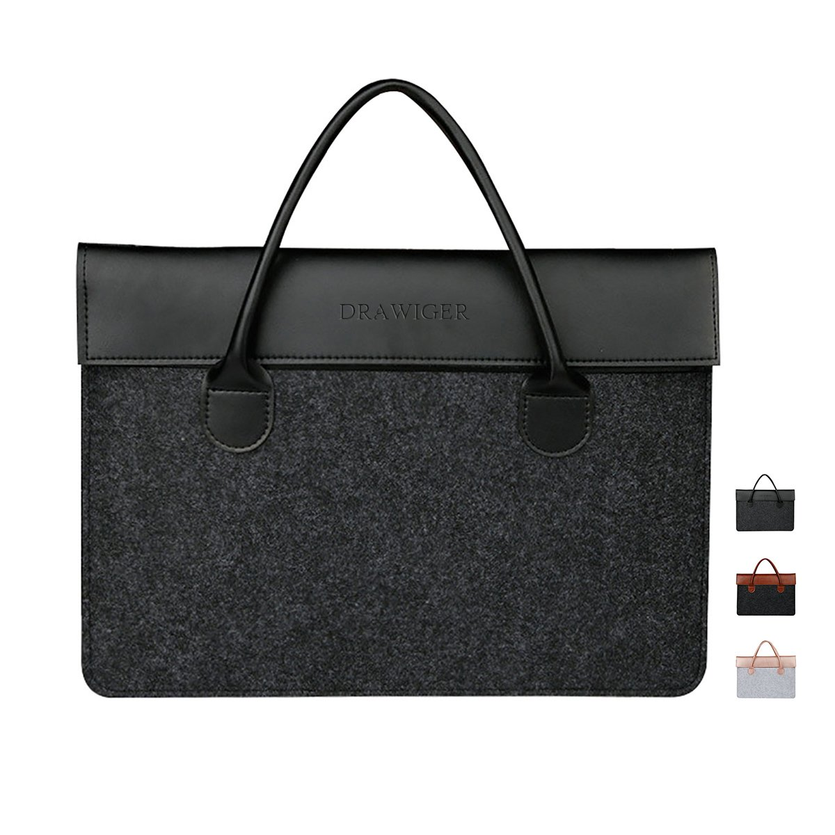 DRAWIGER Wool and Leather Laptop Bag Sleeve Briefcase Handbag Case for Men Notebook Computer Ultrabook for 15 Inch Macbook Pro 2015 (15.6 Inch, Black)