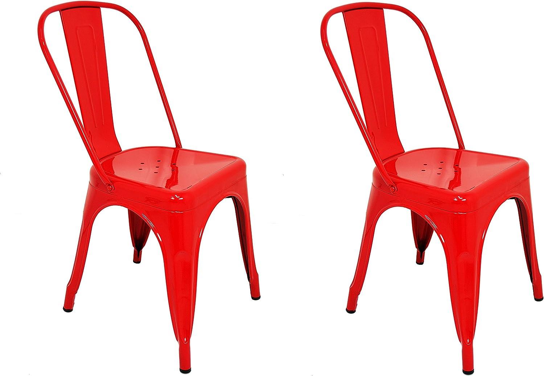 La Silla Española - Pack 4 Sillas estilo Tolix con respaldo. Color Rojo. Medidas 85x54x45,5: Amazon.es: Hogar