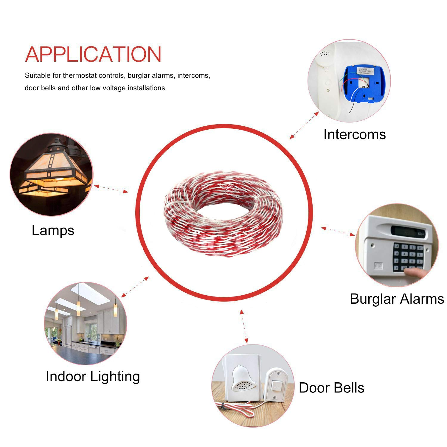 Red and White Wellite 150-ft 18-AWG  Twisted Double Stranded Doorbell Wire High Conductivity Low Resistance Residential Indoor Electrical Wire