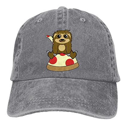 cc53b027acdab Amazon.com  Gieaa Pizza Cute Sloth Male And Female Cotton Denim Baseball Cap  Retro Adjustable Cowboy Hat.  Sports   Outdoors