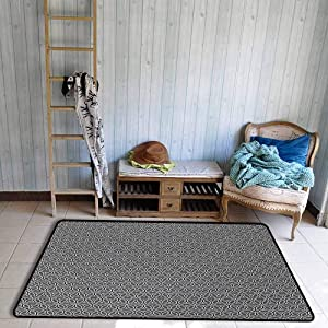 Geometric Area Floor Rugs Greyscale Circular Honeycomb Pattern and Triangles Abstract Modern Art Dining Room Home Bedroom W59 x L82 Grey Black White