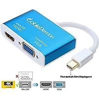 CableDeconn Aluminum Multi-Function Thunderbolt Mini Displayport 1.2 to HDMI 4K& VGA Converter Adapter Cable for Apple Macbook Pro air, iMac Surface pro2 3 4 Mini DP to HDTV Eyefinity VGA Adapter