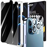 [2+2 Pack] EGV 2pcs Privacy Screen Protector and 2pcs Camera Lens Protector Compatible with iPhone 12 Pro Max 6.7-inch, Tempe