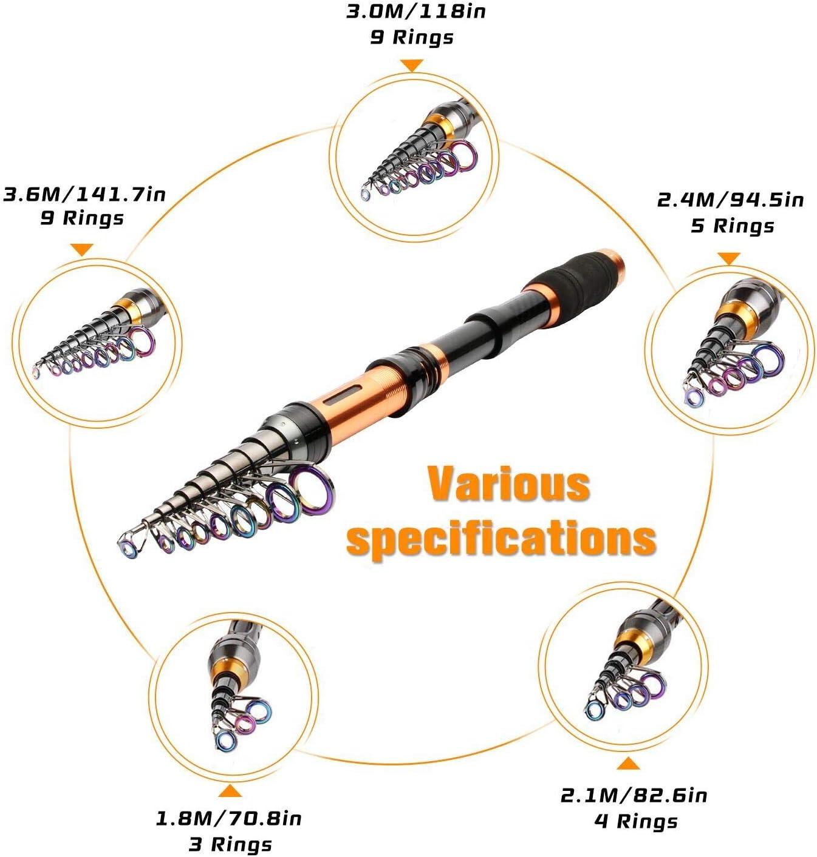 BNTTEAM Angelrolle und Stange Combos 2,1 m 3,0 mt 3,6 mt 99/% Carbon Teleskop Angelrute /& 12BB Angelrolle /& Angeln Tasche /& lockt /& Linie angelrute Combo Set
