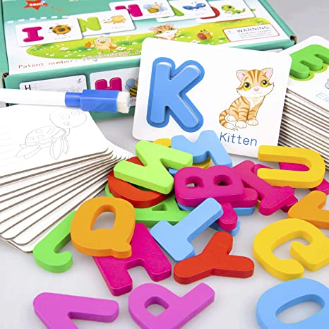Baby Flash Cards Animals Wooden Jigsaw Puzzles Alphabet ABC Letter Card A To Z E