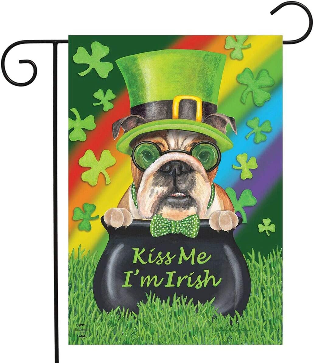 Briarwood Lane Kiss Me I'm Irish St. Patrick's Day Garden Flag Dogs Pot of Gold 12.5