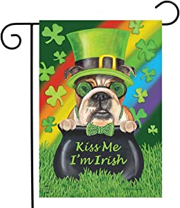 Briarwood Lane Kiss Me I'm Irish St. Patrick's Day Garden Flag Dogs Pot of Gold 12.5