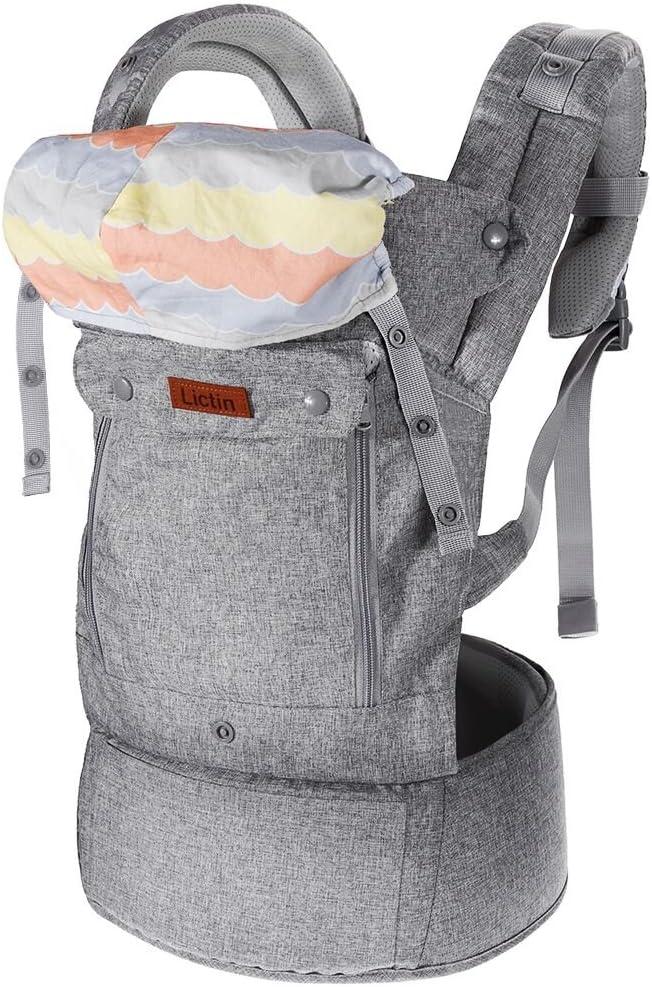 Lictin Mochilas portabebé Manos libres - Portabebés transpirable ergonómicamente diseñado Múltiples posiciones Se adapta a medida que sus hijos crece, Certificado CE para bebé Hasta 15 kg