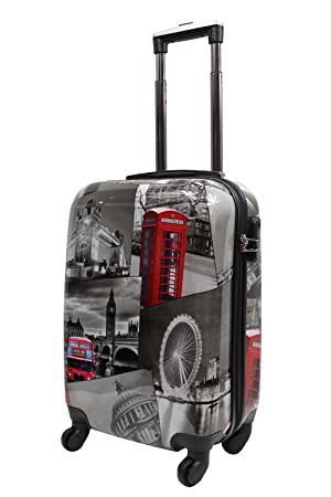 Lightweight 4 Wheel Hard Shell PC London Printed Luggage Suitcase ...