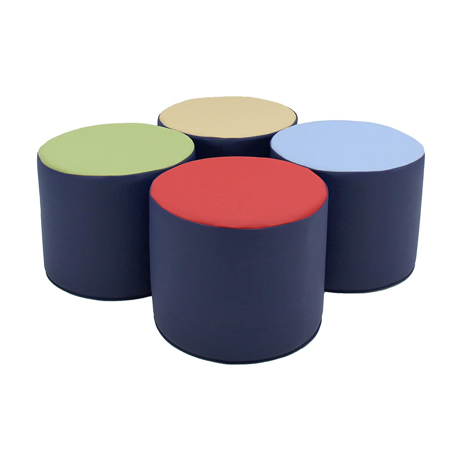 FDP SoftScape 15 inch Round Two-Tone Accent Ottoman for Kids; Modern Children's Furniture, Flexible, Lightweight Foam Seating Set for Home, Playroom, Classroom, Library (4-Piece) - Navy