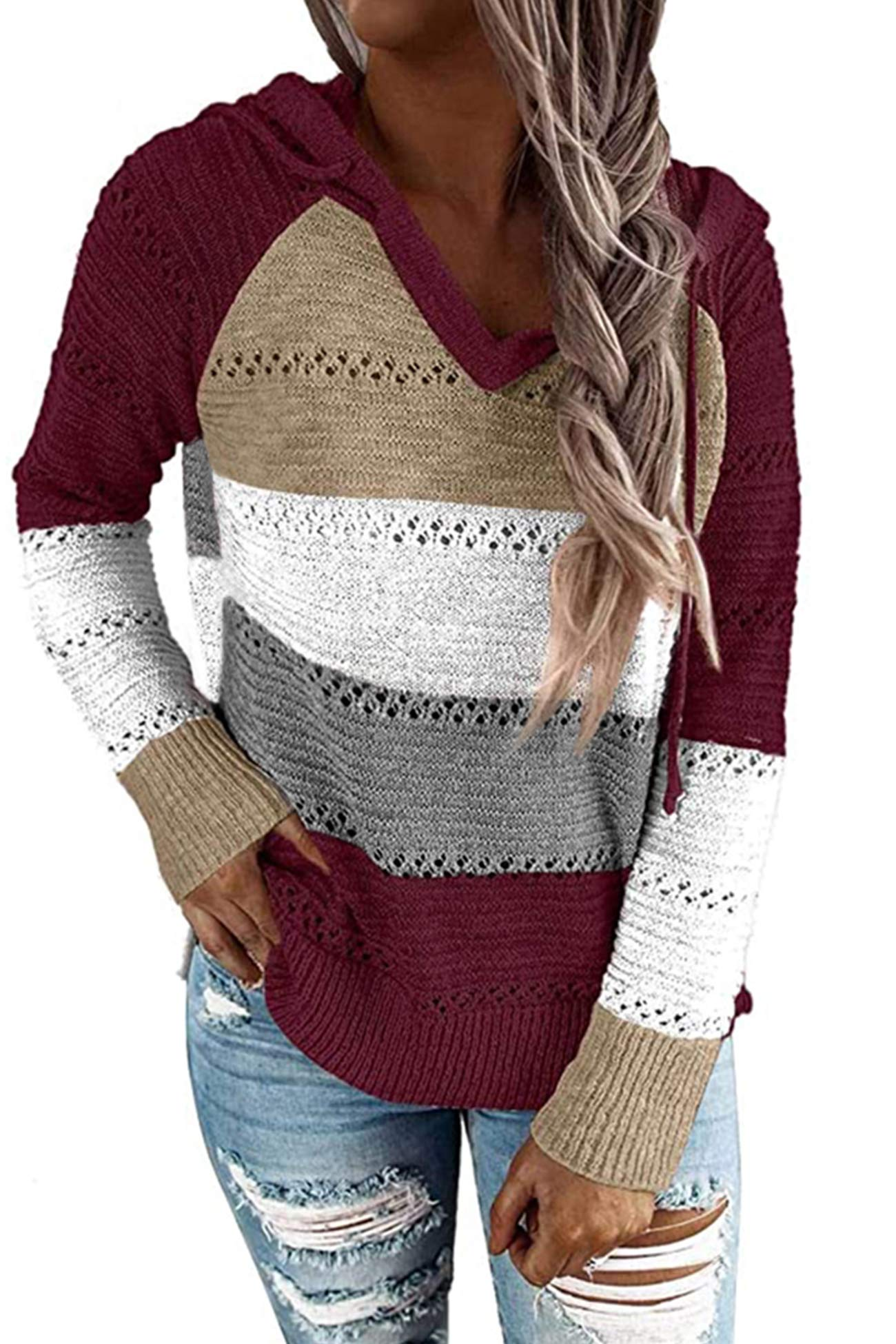 Womens Sexy Color Block Knit Hoodies Sweaters Lightweight Drawstring Loose Pullover Sweatshirts