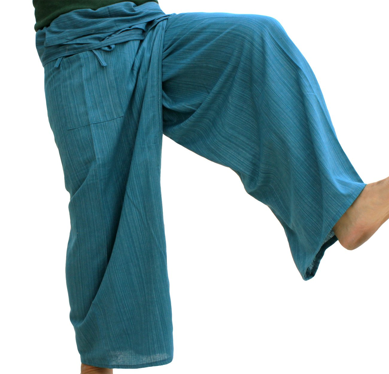 RaanPahMuang Light Striped Cotton Tall Thai Fisherman Wrap Pants Plus, XX-Large, Green by RaanPahMuang