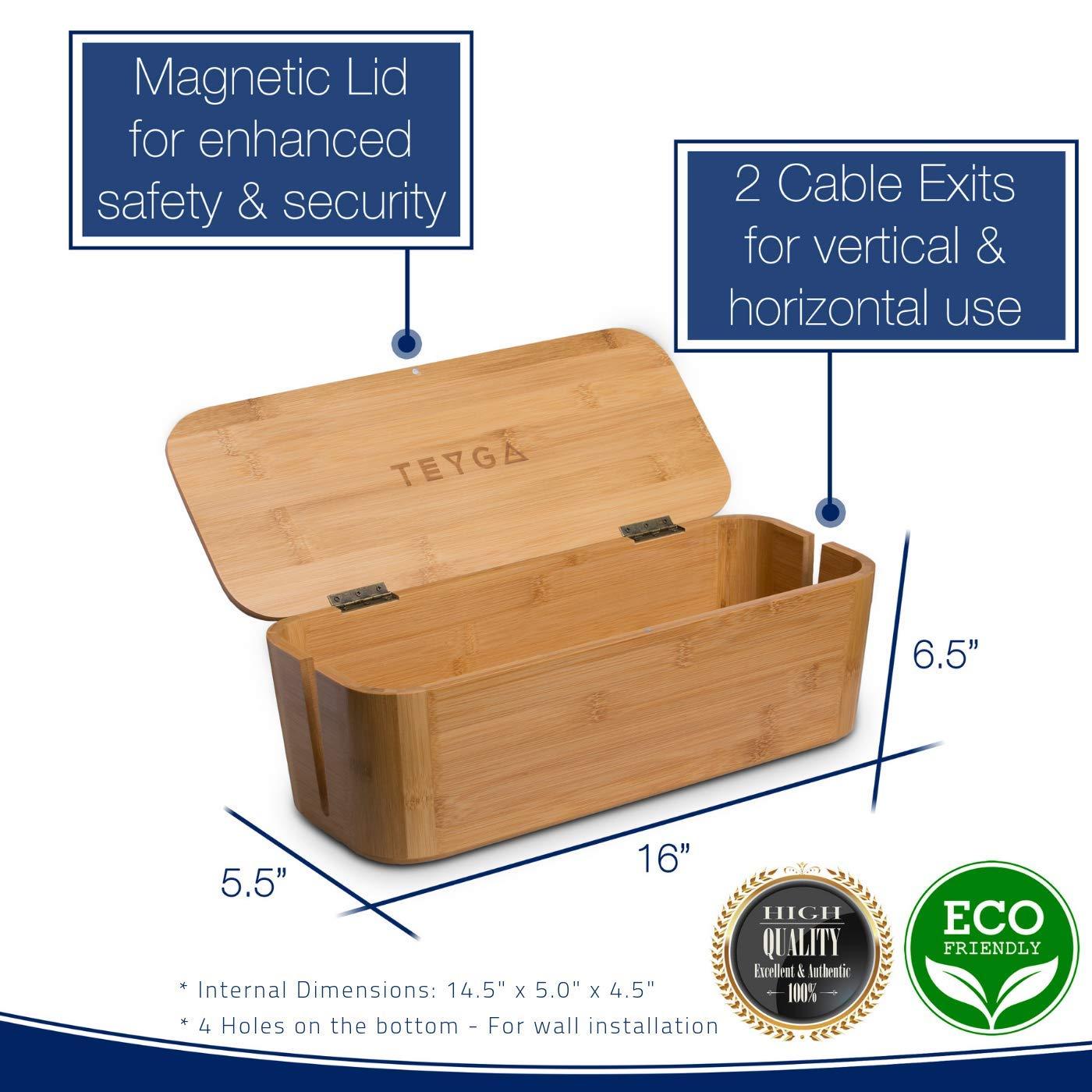 TEYGA Bamboo Cable Management Box Stylish Cord Organizer Box Hides Power Strip