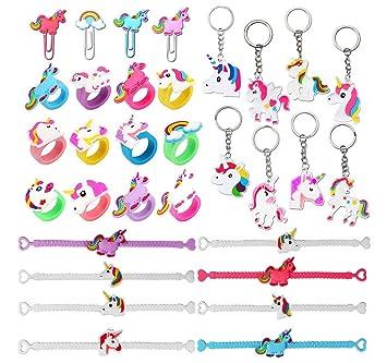 Funnyshow Unicornio Llavero (8pcs) Unicornio Pulsera de Silicona (8pcs) Unicornio Anillo (6pcs) Unicornio Marcador (4pcs) para Piñata, Unicornio ...
