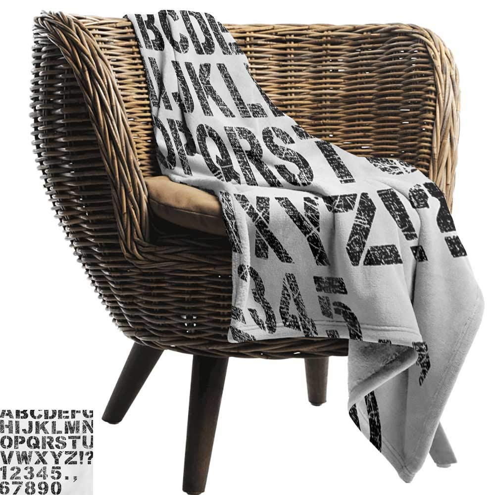 BelleAckerman Flannel Blanket,Letters,Alphabet Concept Grunge Stencil Letters and Numbers Distressed Scratched Look,Black White,Extra Cozy, Machine Washable, Comfortable Home Decor 60''x70''