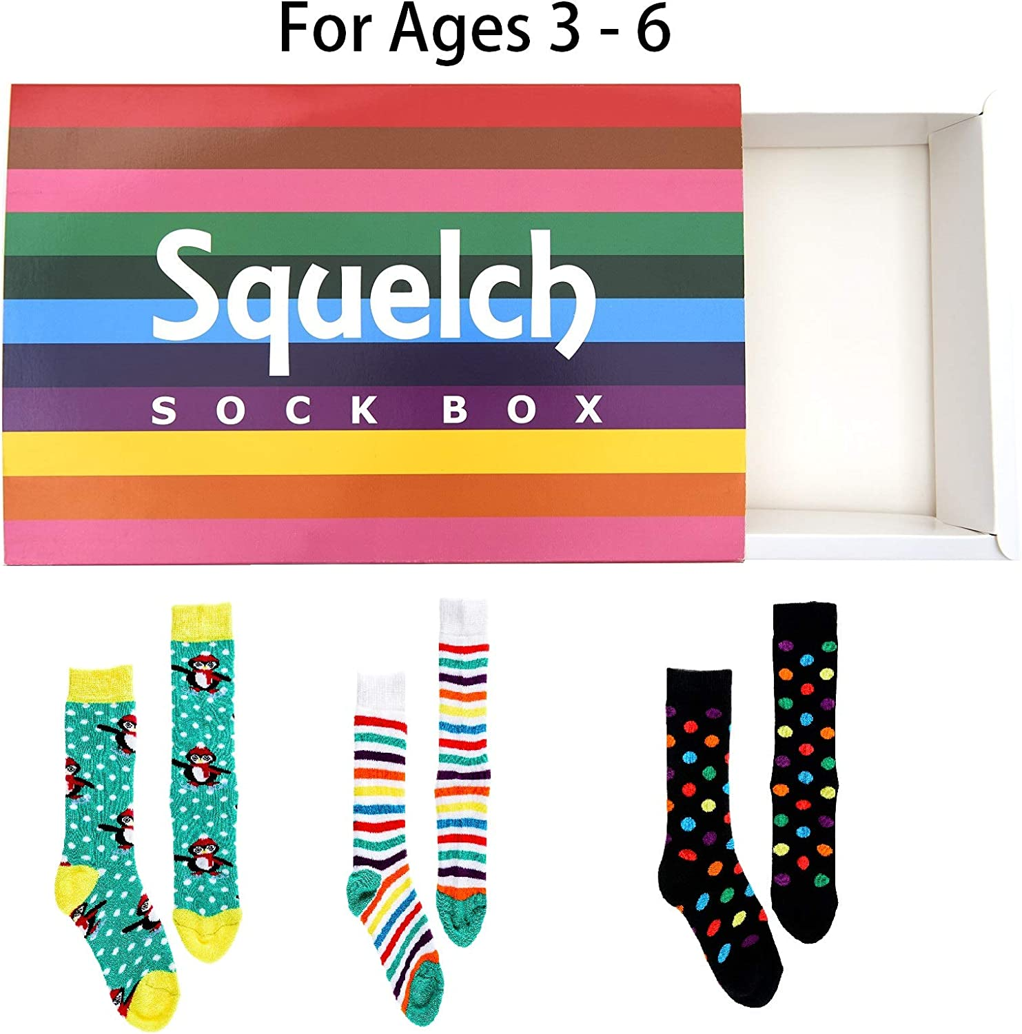 Squelch Childrens Sock Boxes For Welly Boots Kids Colourful Socks Wellies and Wellington Rainsocks