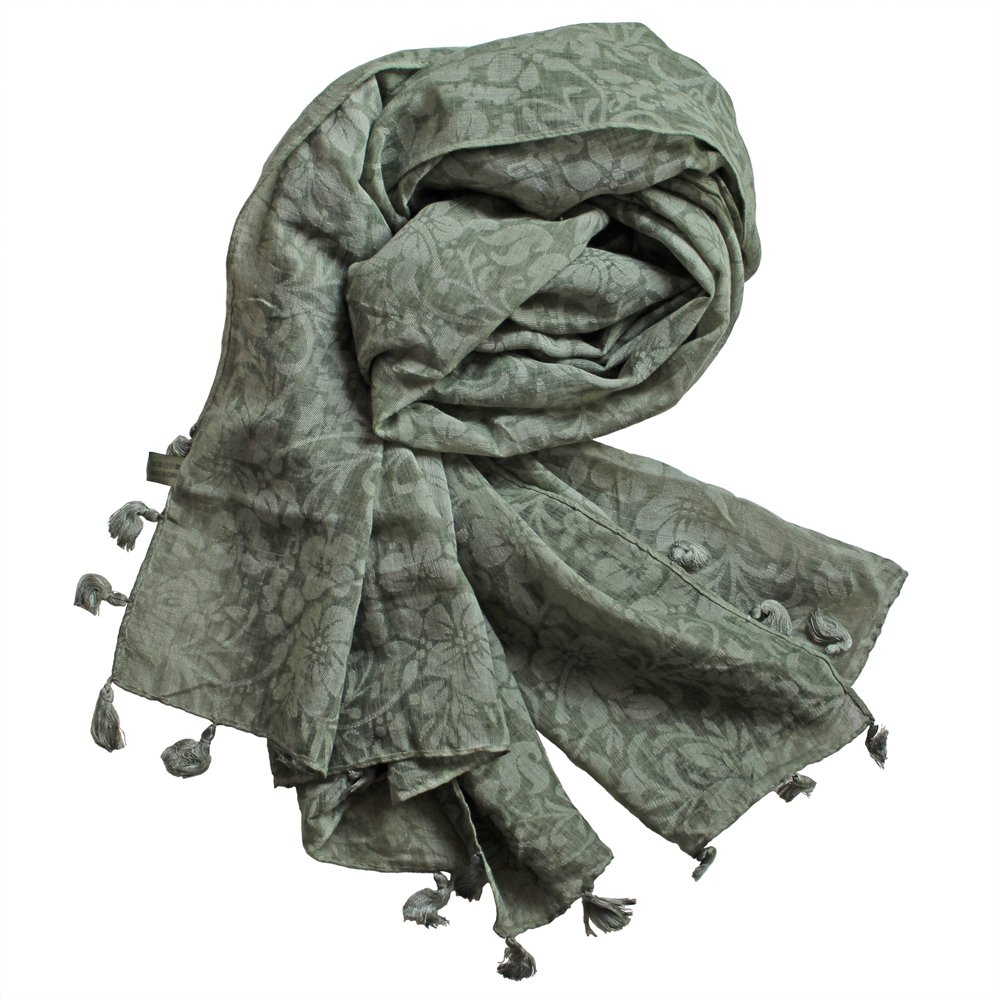 StarGo All Season Lightweight Fashion Women Wrap Shawl Scarf Scarves with Tassels and Embroidery Patterns (Green Olive (Flower)) by StarGo (Image #1)