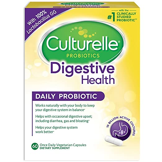 Culturelle Daily Probiotic, 60 Count Digestive Health Capsules | Works Naturally with Your Body to Keep Digestive System in Balance* | with The #1 Proven Effective Probiotic†