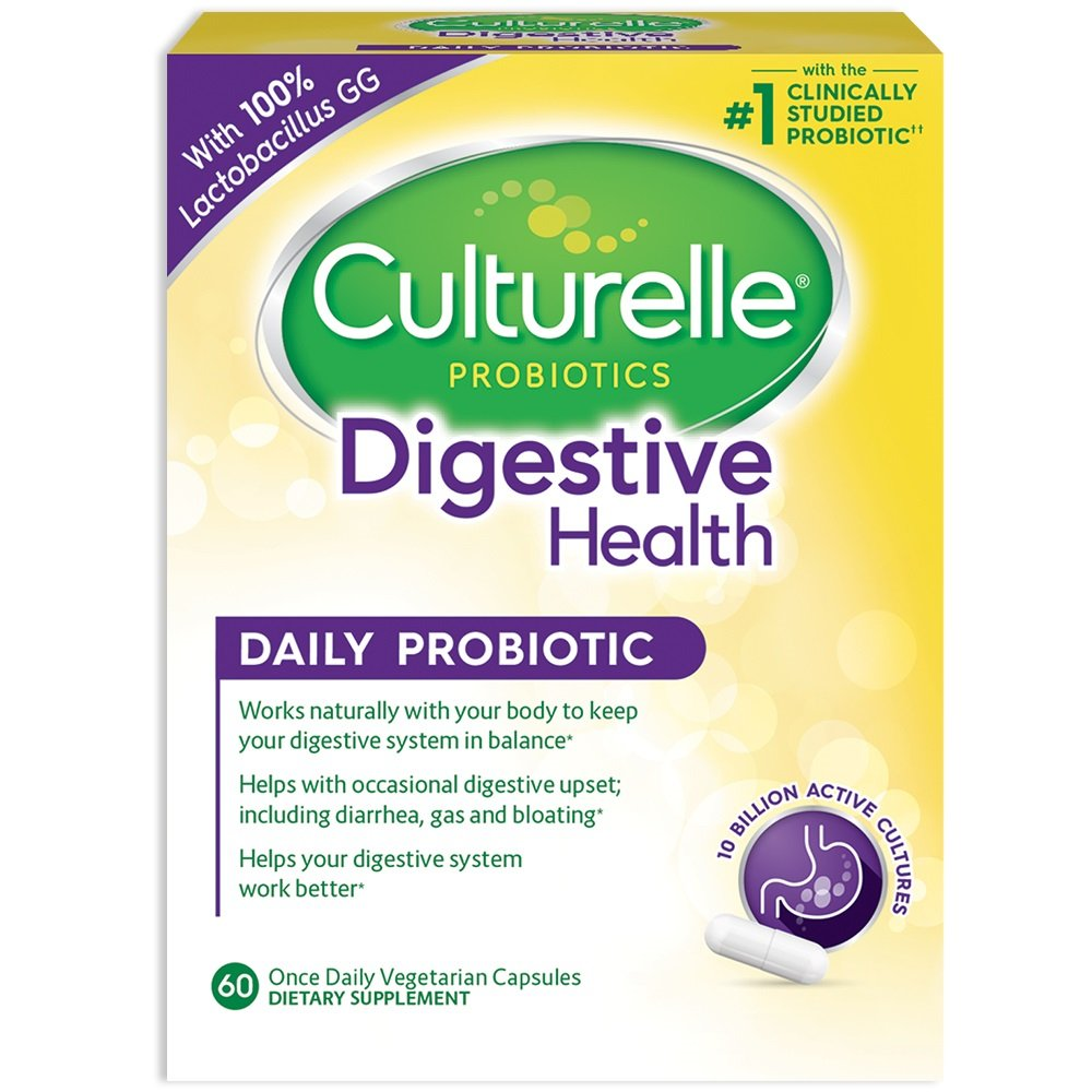 Culturelle Daily Probiotic, 60 count Digestive Health Capsules | Works Naturally with Your Body to Keep Digestive System in Balance* | With the Proven Effective Probiotic