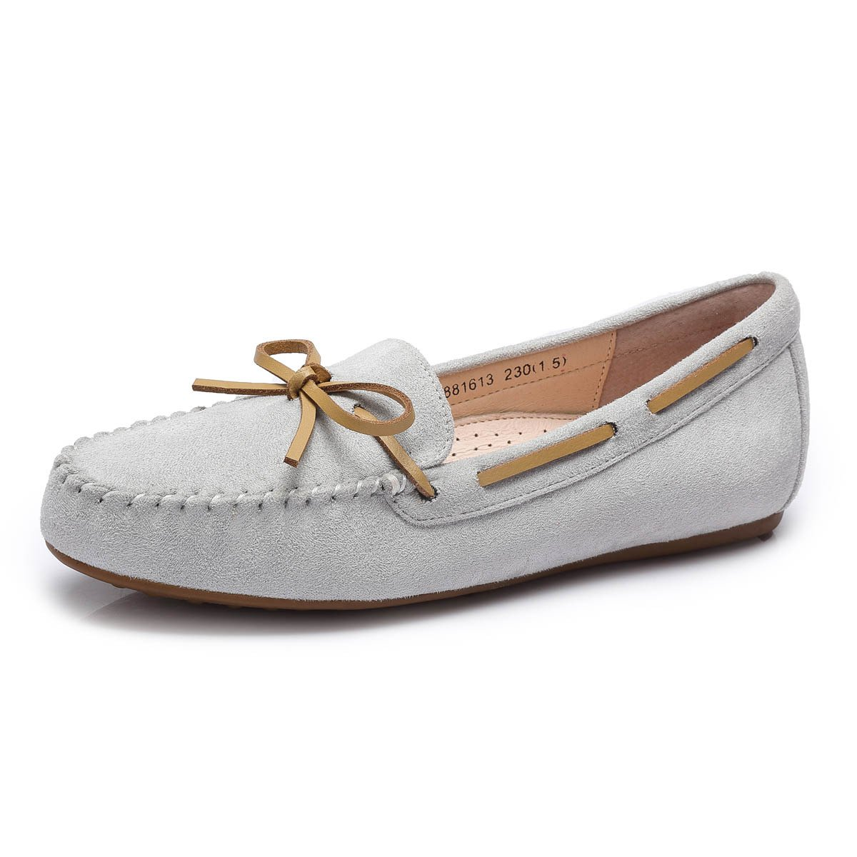 Camel Women's Bow Detailing Anti-Slipping Driving Style Moccasin Slip on Loafers Color Grey Size 6