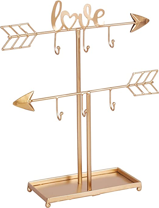 Amazon Com Kleanner 2 Tier Love Arrow Jewelry Organizer Stand Metal Jewelry Display Tree Rack With Ring Tray Decorative T Bar Jewelry Holder For Necklace Bracelet And Watch Gold Home Kitchen
