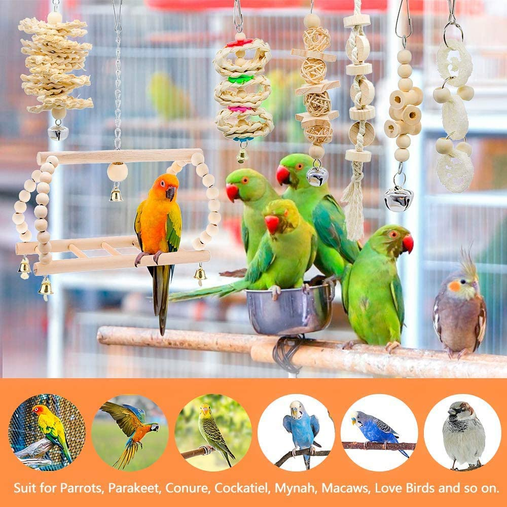 Cockatiels Parakeets Love Birds Macaws SHINYLYL 8 Packs Bird Toy,Bird Parrot Swing Chewing Toys Birdcage Stands,Wood Hanging Bell Bird Cage Toys for Parrots Finches Conures