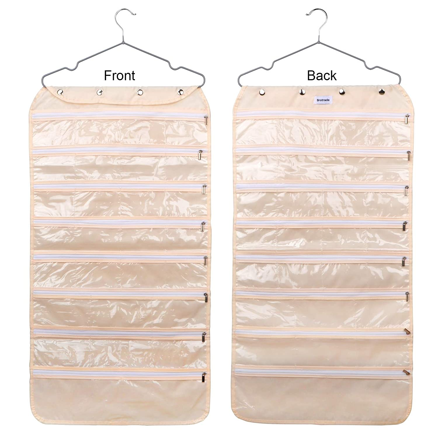 Vercord 56 Pockets Hanging Jewelry Organizer Accessory Storage Holder Double-Sided C Beige