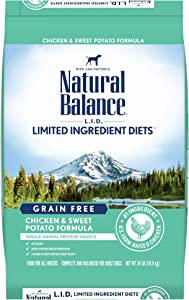 Natural Balance L.I.D. Limited Ingredient Diets Dry Dog Food, Chicken & Sweet Potato Formula, 24 Pounds, Grain Free