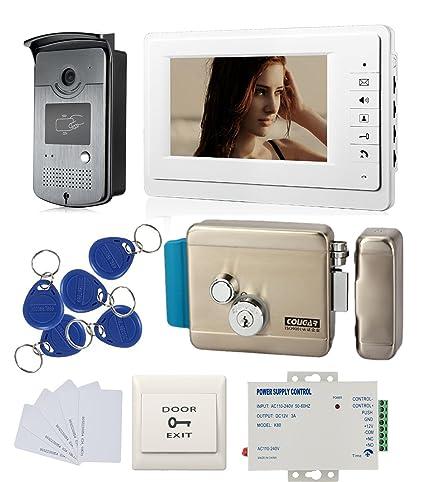 Amazon com : 7'' LCD Video Door Phone Intercom System Kit 1 Monitor