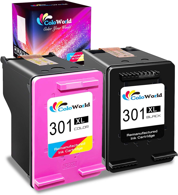 ColoWorld 301XL Remanufacturado Cartuchos de Tinta 301 XL Negro y Tricolor compatible con hp OfficeJet 3830 4650 5220 5230 DeskJet 1110 2130 3630 ENVY 4520 Impresoras, Pack de 2: Amazon.es: Electrónica