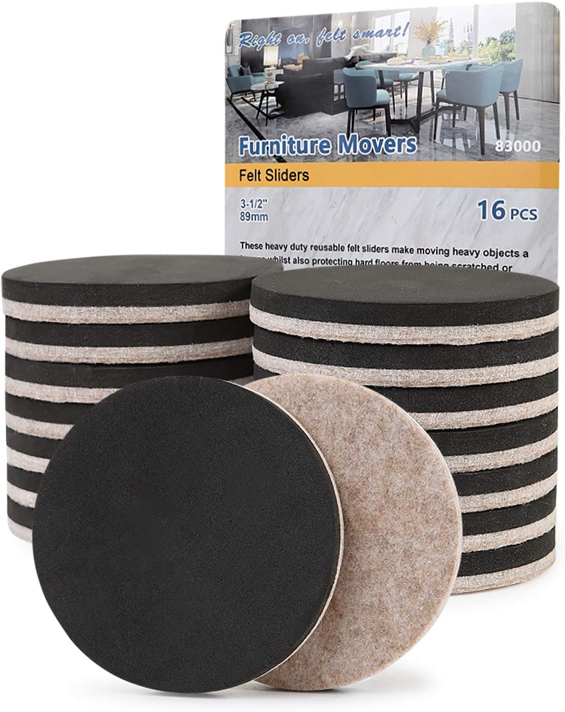 "Felt Furniture Sliders Hardwood Floors 16 PCS 3.5""- Furniture Slider – Heavy Duty Felt Sliders Hard Surfaces - Move Your Furniture Easy & Safely by STAR SMART"