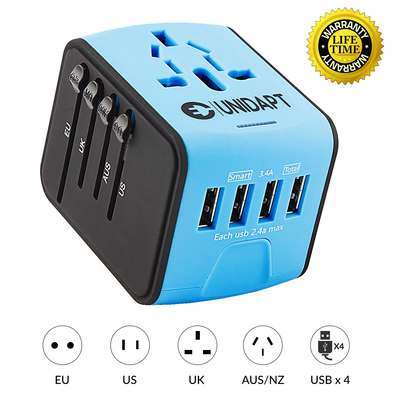 Unidapt Universal Travel Power Adapter, European Adapter, Fast 2,4A 4-USB Worldwide International Power Charger, AC Wall Plug Adapter - All in One for US, UK, EU, AUS & Asia by Unidapt