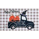 Happy Halloween Door Mat, hogardeck Front Door Mat Outdoor Indoor Decorations, Premium Non Slip Rubber Doormat for Entry, Pum