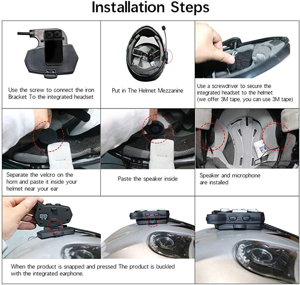 2pcs Motorcycle Bluetooth Intercom R9,Up to 4 Riders Bluetooth Motorcycle Headset Motorcycle Helmet Bluetooth Headset Communication Universal Snowmobile Wireless Interphone Waterproof