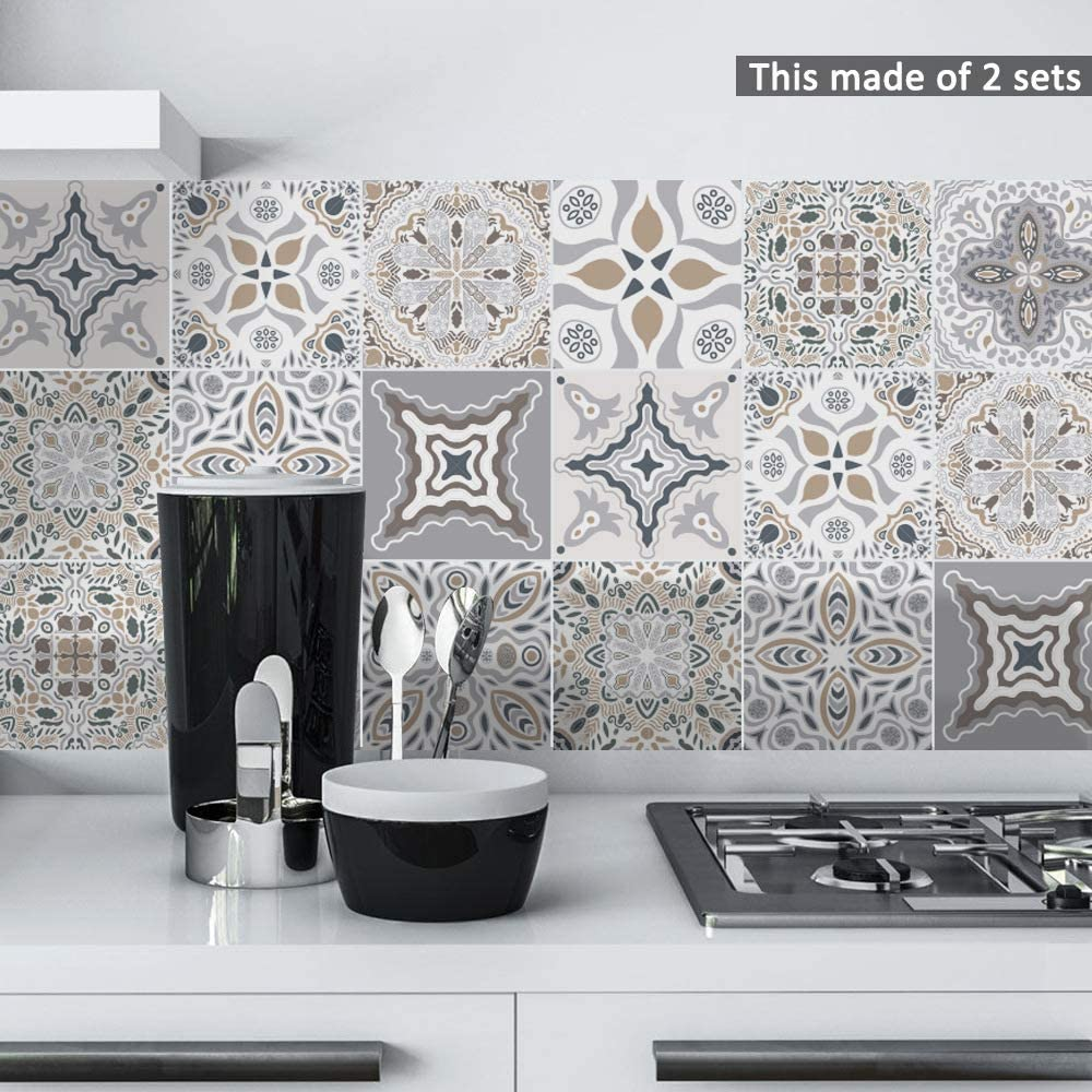 AILEGOU Waterproof Vinyl Wall Tiles Sticker for Home Decor, Self-Adhesive Peel and Stick Backsplash Tile Decals for Kitchen Bathroom Decor, 6x6inch 10 Pcs.(Moroccan 2)