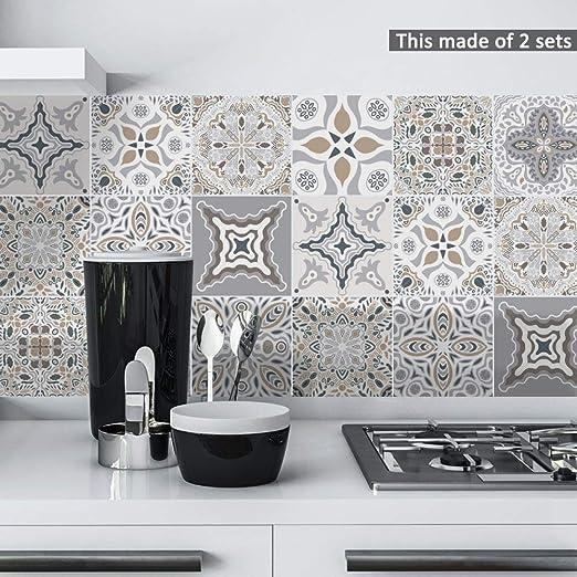 150mm Stick On Vinyl Wall Tile Stickers Kitchen Bathroom Gold Gloss 6 Tiles 6/'/'