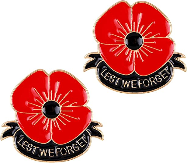 BESPMOSP Pack of 3 Remember Memorial Day Gifts Flower Red Black Poppy Brooch Pin Lest We Forget Family Jewelry
