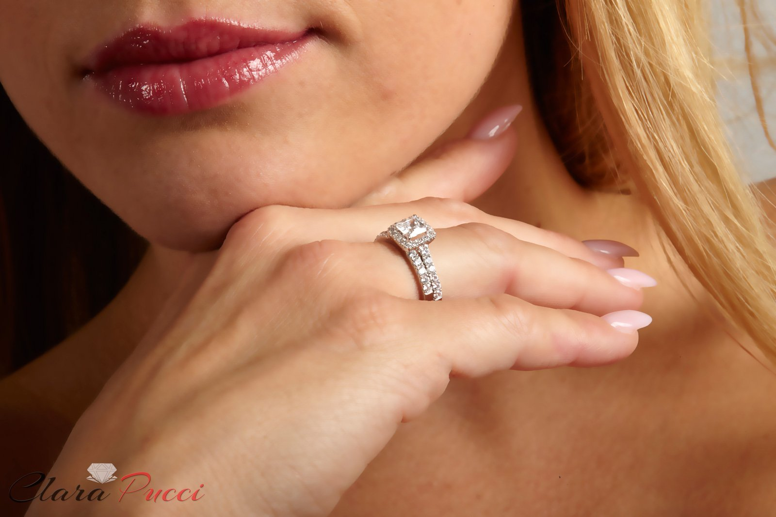 Clara Pucci 1.60 CT Princess Cut CZ Pave Halo Bridal Engagement Wedding Ring Band Set 14k White Gold, Size 8.5 by Clara Pucci (Image #5)