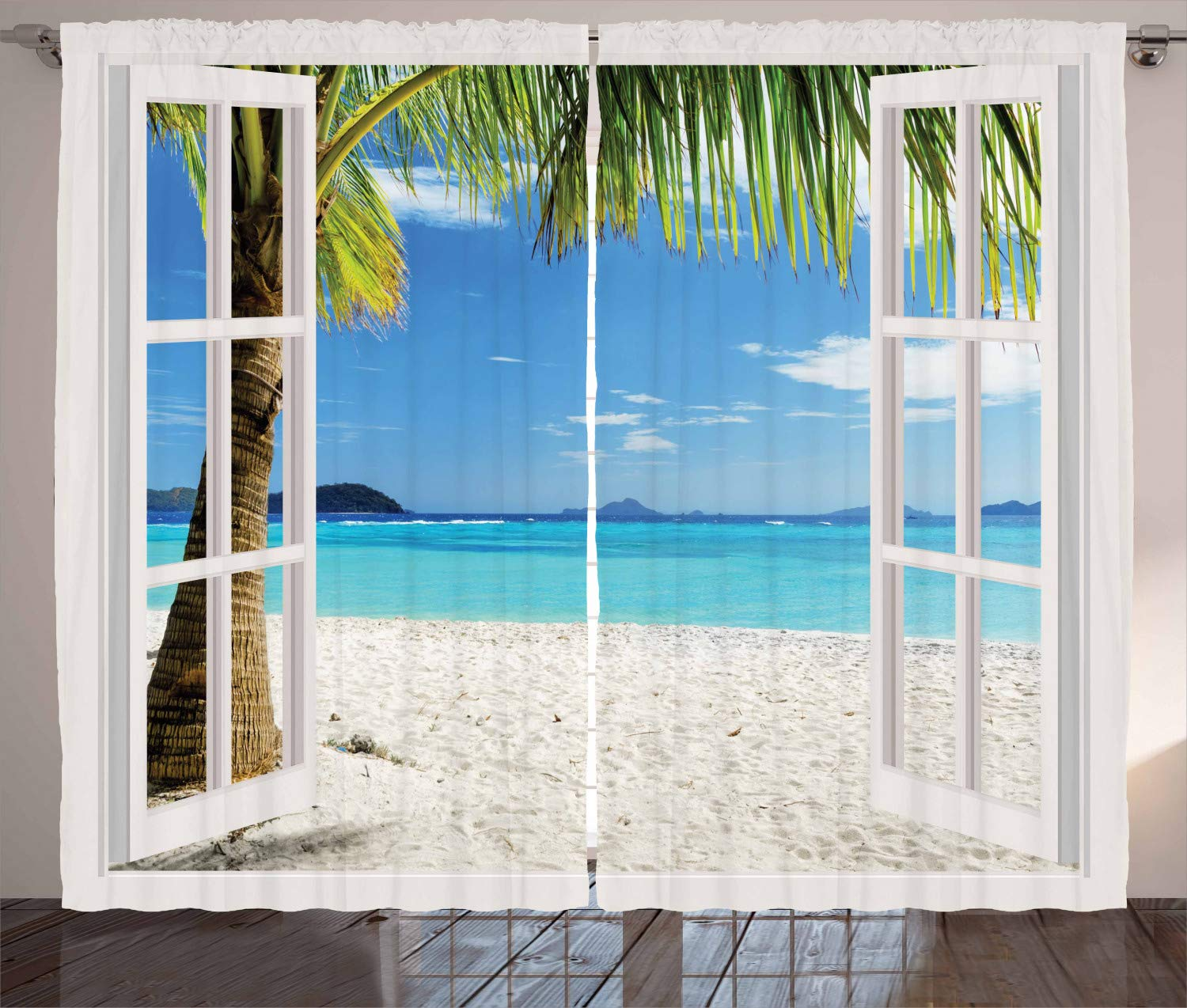 Ambesonne Turquoise Curtains Decor, Tropical Palm Trees on Island Ocean Beach Through White Wooden Windows, Living Room Bedroom Window Drapes 2 Panel Set, 108 W X 96 L Inches, Blue Green and White