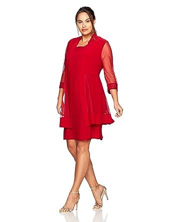 7978ba8df7fee R M Richards Women s Size Glitter Trim Jacket Dress Plus at Amazon Women s  Clothing store