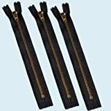 "ZipperStop Wholesale Authorized Distributor YKK® 6"" YKK Pants Brass Zipper #4.5- Black (3 Zippers)"