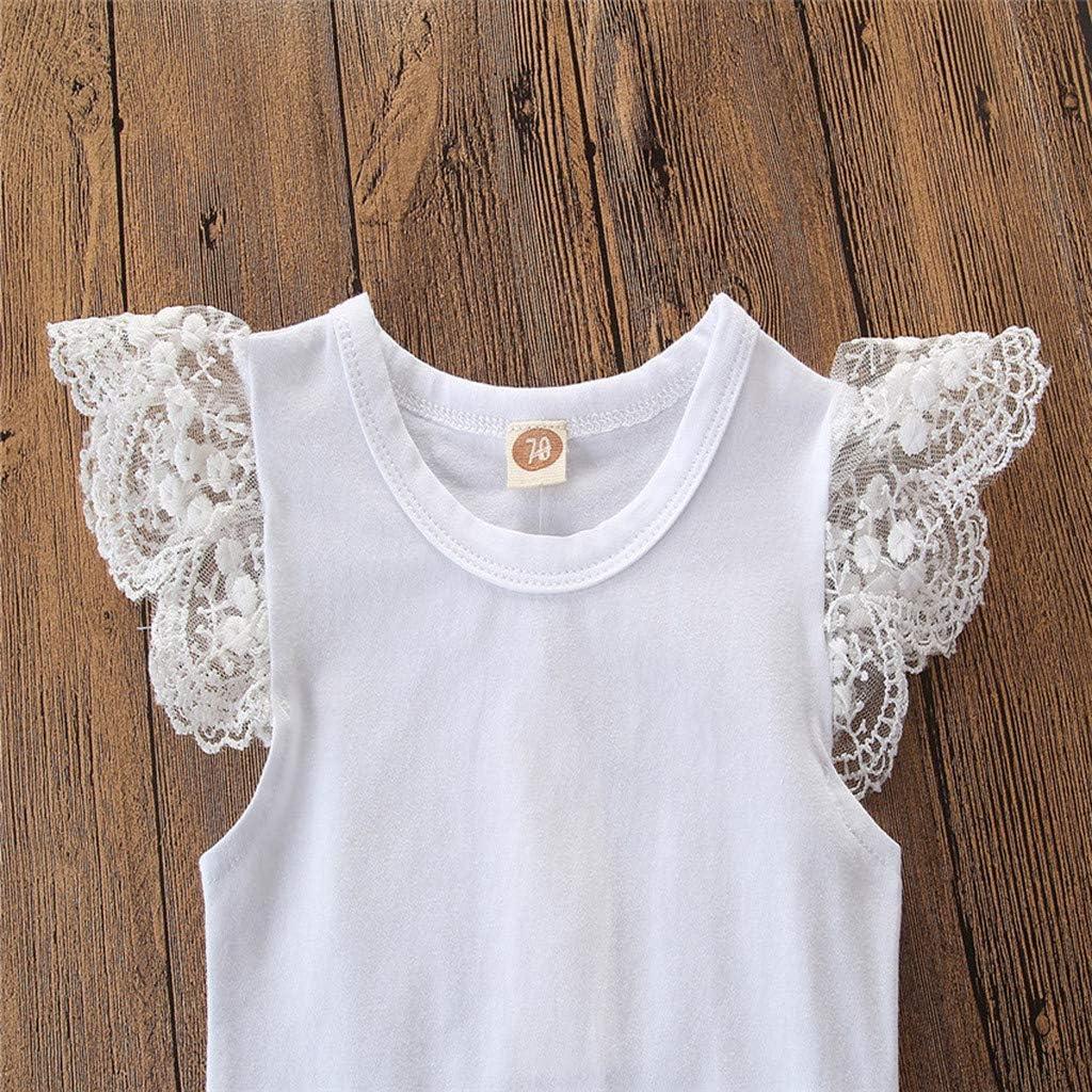 Vinjeely SummerFloral Cross-Back Bow Sleeveless Ruffle Romper Set Baby Girls Clothes