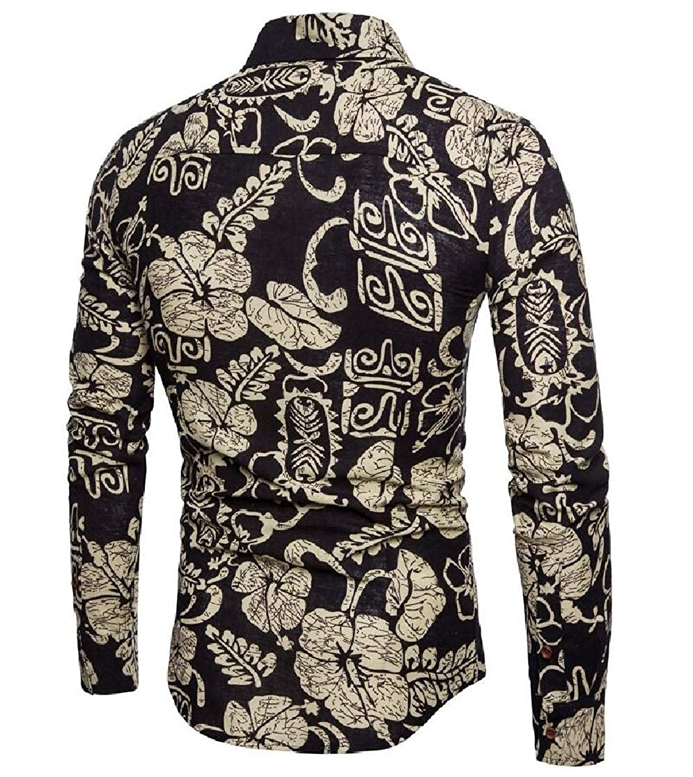 Joe Wenko Mens Printed Fit Floral Long-Sleeve Button Down Shirt