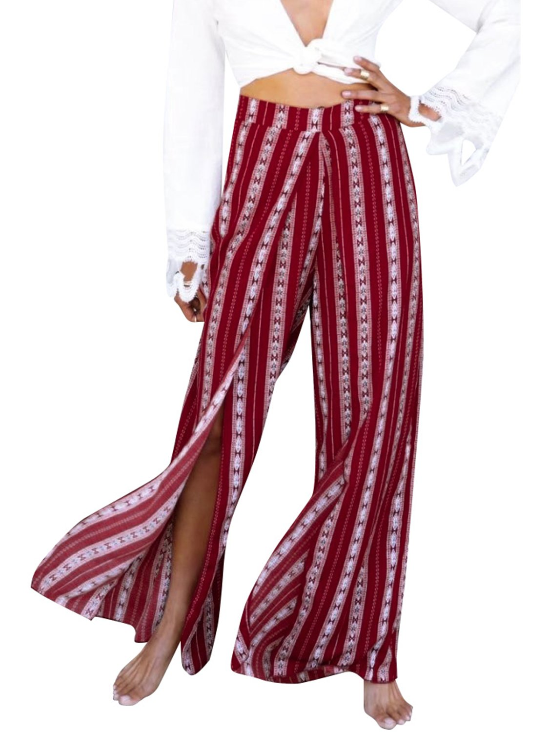 Simplee Women's Summer High Waisted Split Loose Wide Leg Pants Print Casual Palazzo Pants Red US 8