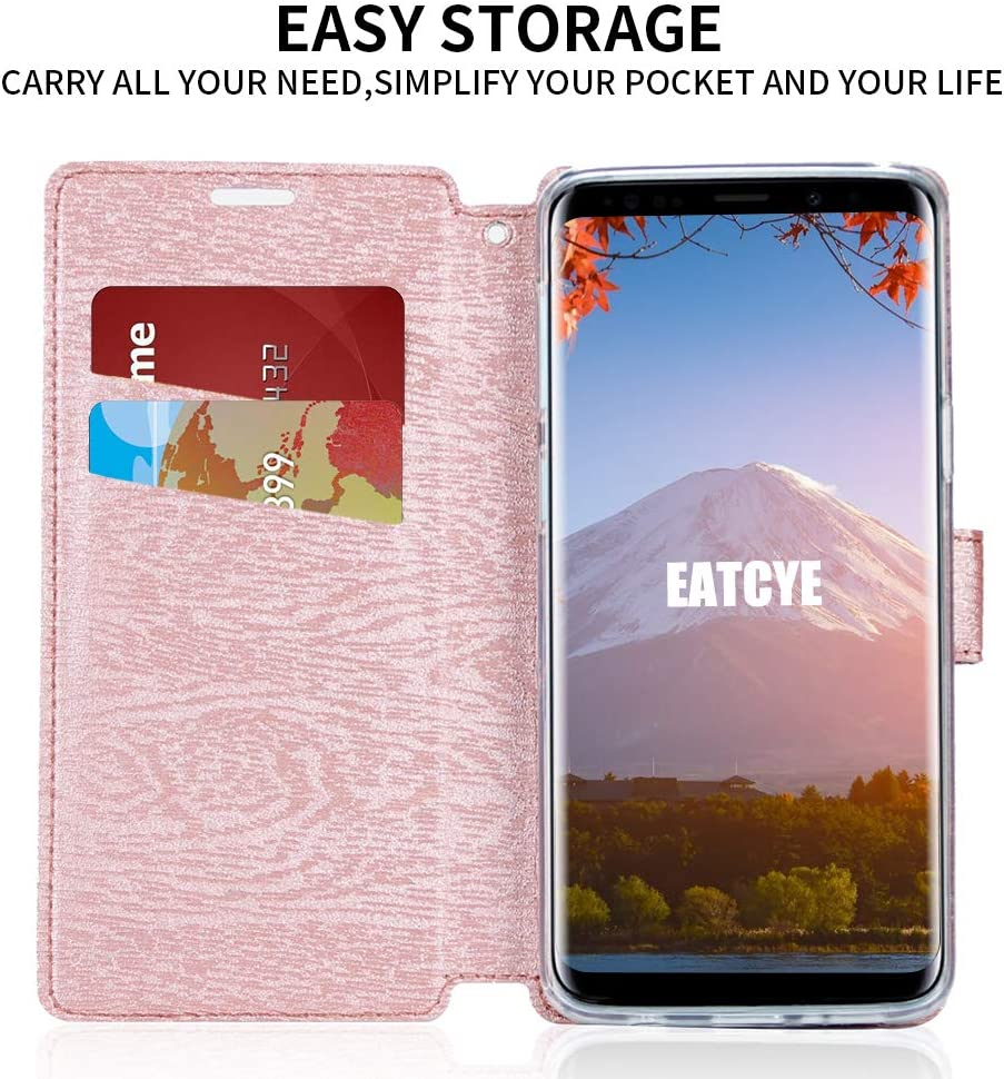 Red EATCYE case for Galaxy S9,Wallet Flip case for Galaxy S9 PU Leather Magnetic Kickstand Card Slots Book Protective Folio Case for Samsung Galaxy S9