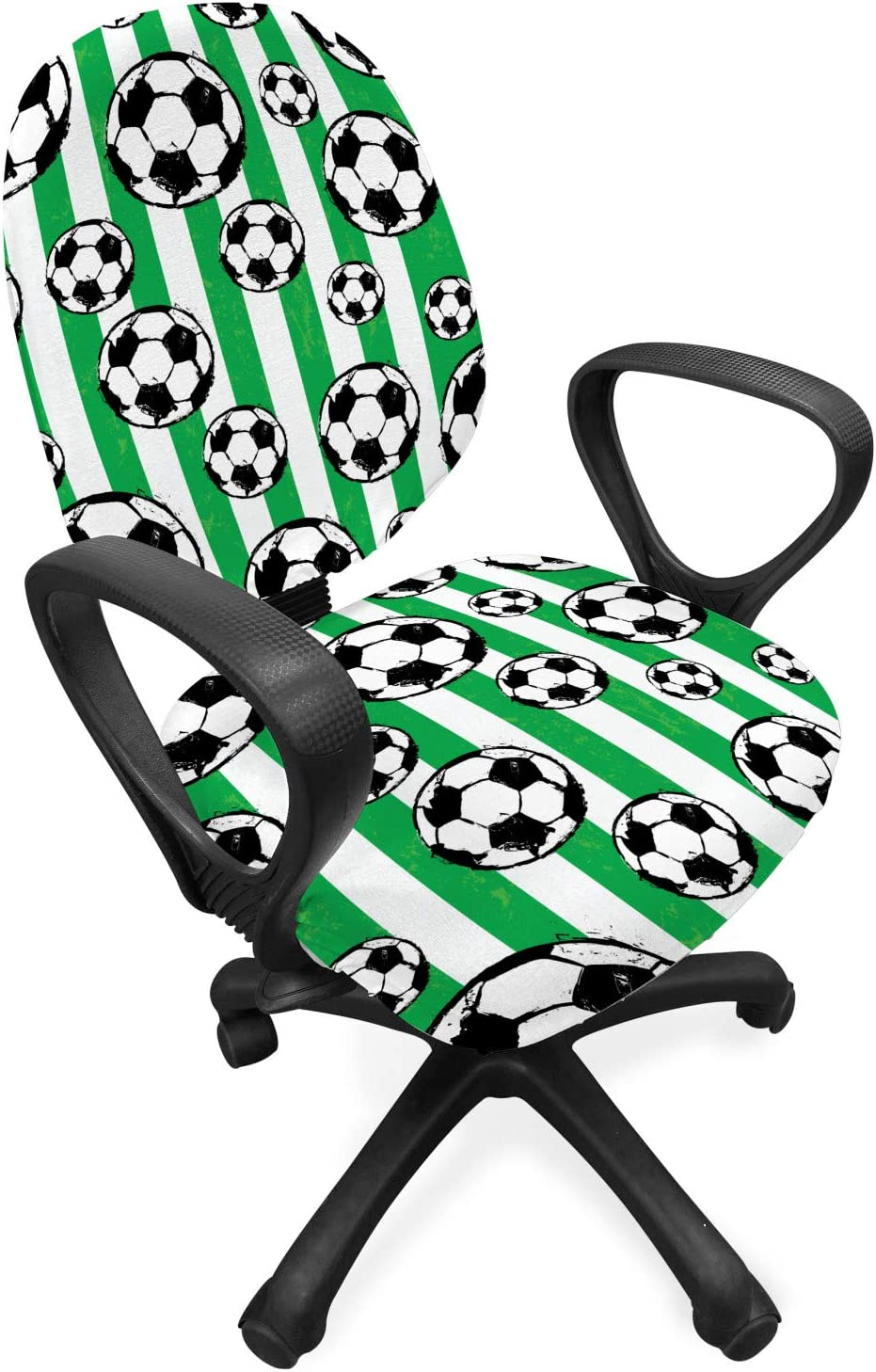 Lunarable Soccer Office Chair Slipcover, Football Pattern with Vertical Stripes Outdoor Sports Themed Illustration, Protective Stretch Decorative Fabric Cover, Standard Size, Black White