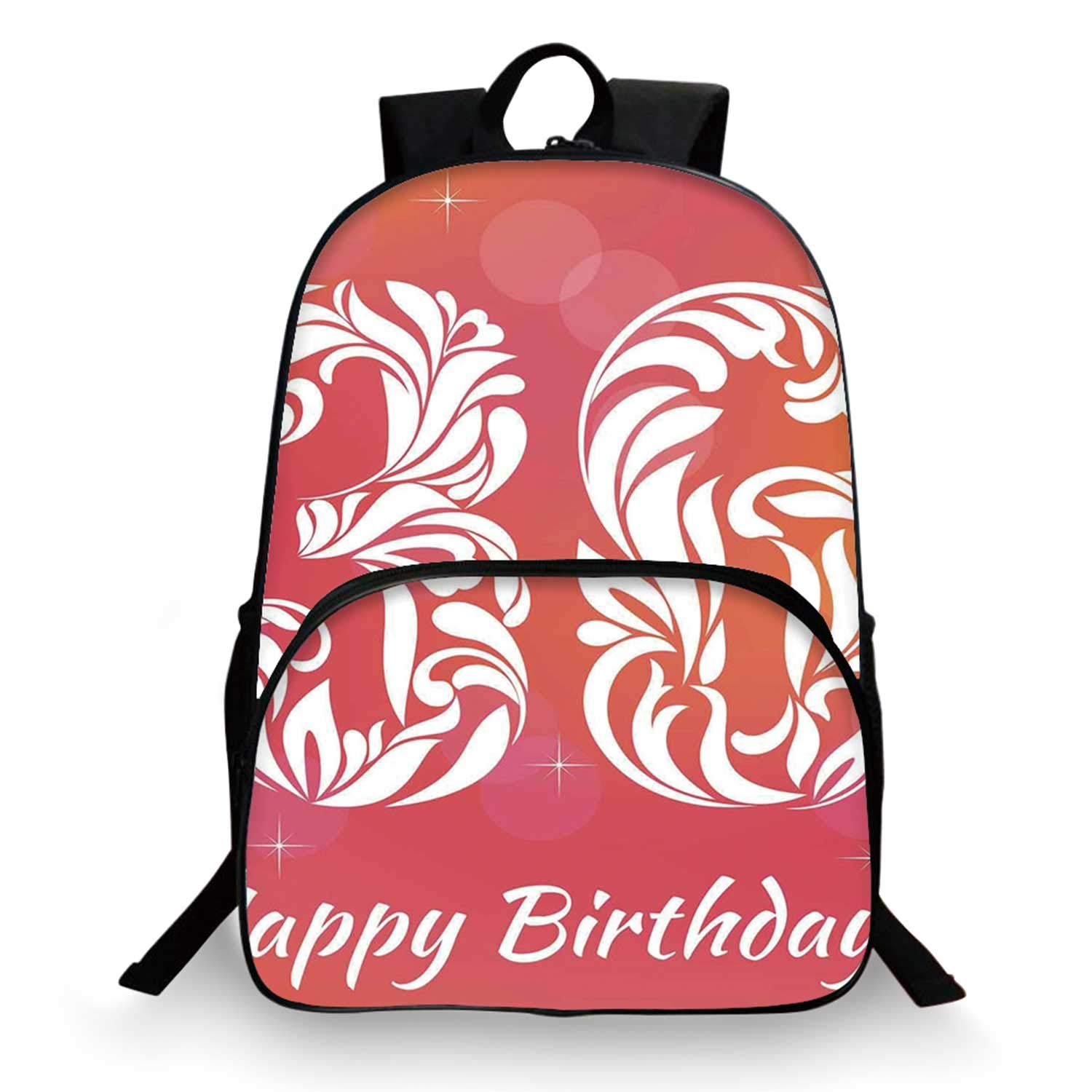 36th Birthday Decorations Various Schoolbag,Ombre Vivid Colored Thirty Six in Floral Design Image for student,11''Lx6''Wx15''H by C COABALLA