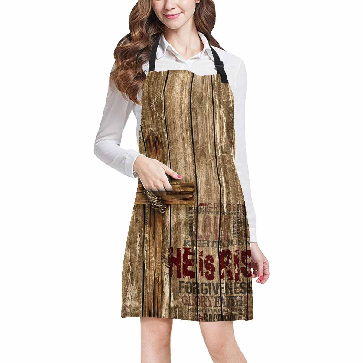 InterestPrint He Is Risen Easter with Christian Cross on Wood Design Adjustable Bib Apron with Pockets - Commercial Restaurant and Home Kitchen Adjustable Apron, Plus Size